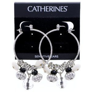 3/$20 Catherines silver and black charm earrings